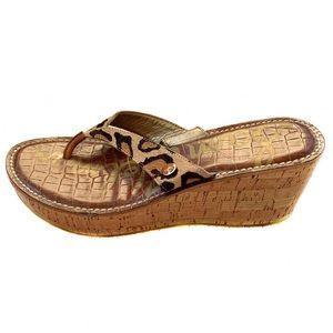 SAM EDELMAN Romy Leopard Cork Wedge Sandals Size 9